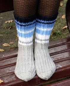 Hand Knit Socks Striped Leg Warmers Black White by Initasworks, $38.00