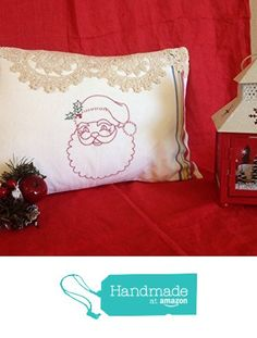 CHRISTMAS Santa Pillow, Vintage Hand-Crocheted Lace Hand Embroidered European Styled Linen Holiday Red Throw Pillows Decorative Decor from Vintage Story Linens https://www.amazon.com/dp/B018OW7RRO/ref=hnd_sw_r_pi_dp_Qx.kyb9QGXJD7 #handmadeatamazon