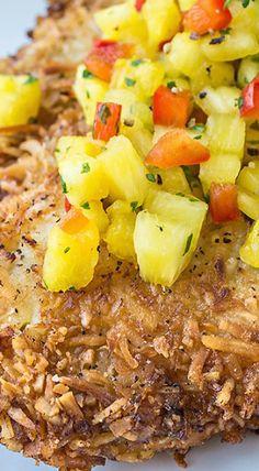 Hawaiian Coconut Chicken with Fresh Pineapple Salsa