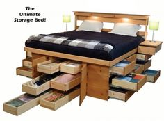 Ultimate Bed Platform Beds with Drawers - the 18-drawer king is my dream bed
