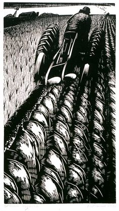 "Richard V.  Correll (1904-1990). Spring Plowing.1974 Woodcut 17 1/4"" x 24 1/2"""