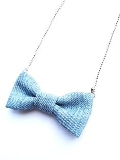 Happy Lovely Bow Necklace Bright Denim Necklace