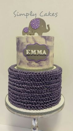 """Ruffles, """"watercolor"""" buttercream and elephants baby shower cake  Www.facebook.com/simplycakes.brittneyshiley"""