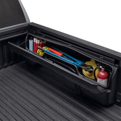 2019 Silverado 1500 Side Mounted Bed Storage Boxes, Short Box, without MultiPro Tailgate 84705350 Silverado Accessories, Ford F150 Accessories, Cool Truck Accessories, Old Ford Trucks, Lifted Chevy Trucks, Jeep Truck, Pickup Trucks, Truck Storage, Bed Storage