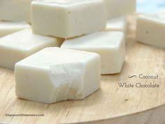 coconut white chocolate Vegan Sweets, Healthy Sweets, Vegan Desserts, Just Desserts, Coconut Recipes, Fudge Recipes, Scd Recipes, Candy Recipes, Paleo Dessert