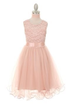 Soft Lace Flower Girl Dress in Blush Pink