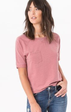 cce3660ecf6 Z Supply Raglan vintage pullover with front pocket in the color withered  rose.
