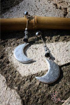 #moon #orecchini #fogliaargento