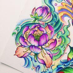 Floral Tattoo Design, Tattoo Designs, Fractal Art, Fractals, Thai Style, Lotus, Watercolor Tattoo, Tatting, Coloring