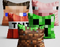 Do you or your friends play Minecraft? You will love this pillow! • Measures 40cmx40cm (a little less than 16x16 inches) pillow/cushion  with ZIPPER and INNER INSIDE, DOUBLE-SIDE printed,  featuring themes from Minecraft:- Ground- Steve- Creper- TNT- Pig  made with microfiber fabric which is pleasant to the touch. • SAVE $20 when you buy 5 pillows! • • SAVE $10 when you buy 2 pillows! • #minecraft #minecraftfavor #game #gamer #pixelart #pillow #pig #minecraftparty