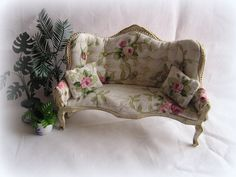 Rose Miniature Dollhouse Sofa