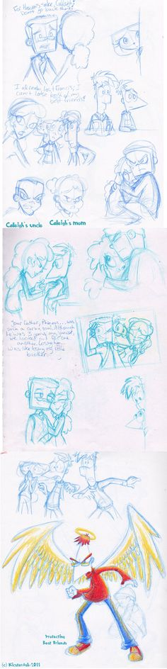 Calleigh Story Sketchdump, Calleigh and Mitch OCs, PnF by KicsterAsh