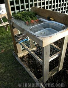 Garden Sink that require no plumbing. There's always sinks at the Habitat Restore now I'm going to go price them Garden Sink that require no plumbing. There's always sinks at the Habitat Restore now I'm going to go price them Outdoor Projects, Garden Projects, Garden Tips, Outdoor Sinks, Outdoor Garden Sink, Outdoor Countertop, Outdoor Benches, Garden Benches, Rooftop Garden