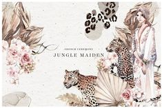 Jungle Maiden by The Everlasting Story on The natural tropical nude hues of flowers, abandoned branches, and foliage create a luxe, on-trend bridal oasis with giving them a new life of celebratory decay — faded, sentimental and very romantic. Watercolor Illustration, Floral Watercolor, Graphic Illustration, Creative Illustration, Watercolor Drawing, Watercolor Paintings, Adobe Illustrator Cs6, Commercial Fonts, Colorful Backgrounds