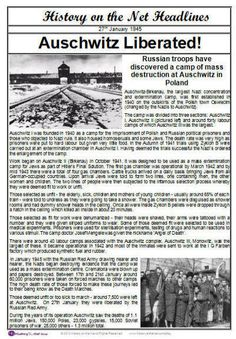 Auschwitz Newspaper Headlines - having visited Dachau when I was 8 ( only 8 years after the war) …