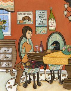 Wine For Cheese, black and tan dachshund, red doxie, wiener dog wine art print Cheese Art, Wine Cheese, Fiona The Hippo, Black And Tan Dachshund, Pet Dogs, Wiener Dogs, Mini Dachshund, Wine Art, Dog Art