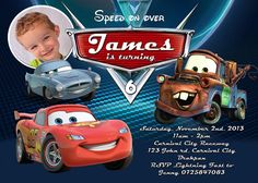 Cars Birthday Invitation, Disney's Cars, Lightning McQueen, Sally, Chalkboard Card, Printable, Invitation, Disney Cars Invitation