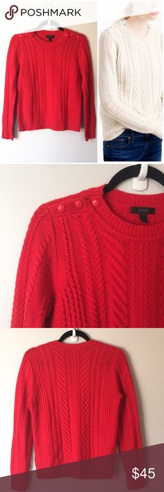 J. Crew 100% Lambswool Cable Sweater This Red J. Crew, 100% lambswool, cable sweater is sold out online and so beautiful! It's in great condition with a very small amount of pilling under the arms. Please see the fourth picture for additional info. Reasonable offers welcome. Xoxo-J J. Crew Sweaters Crew & Scoop Necks