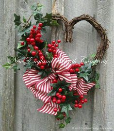 Bright cherry red berry clusters and and lush English Ivy line the edge of a rustic grapevine heart frame. A lush bow in a striking red and white ticking stripe adds a Más Valentine Day Wreaths, Valentines Day Decorations, Holiday Wreaths, Valentines Diy, Christmas Centerpieces, Christmas Decorations, Holiday Decor, Wreath Crafts, Wreath Ideas