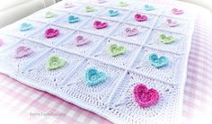 CROCHET BABY BLANKET Pattern Jazzy Heart by KerryJayneDesigns