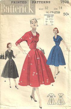 Butterick 7578 Vintage 50s Sewing Pattern Dress Size 14. $12.50, via Etsy.