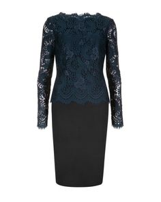Lace fitted dress - Olive   Dresses   Ted Baker