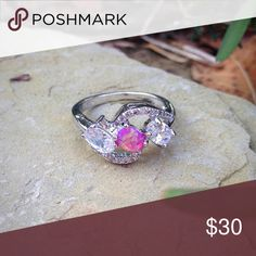 Sterling silver filled pink opal and cz ring Super sparkly cubic zirconia and fiery pink opal in a sterling silver filled setting. Jewelry Rings