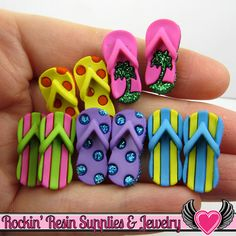 Jesse James Buttons 10 pc FAB FLOPS Shoes Flip Flops Buttons OR Turn them Into Flatback Decoden Cabochons