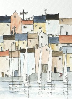 I love little towns filled with houses perched on the edge of a harbor or the sea. Washing or flags suspended between the architecture... and boats bobbing around on the water. I like to look on and imagine the lives of the people living there. This is a one of a kind original ink drawing and watercolor. Painted on thick 300g/140lbs paper with professional Rembrandt watercolor, ensuring the colours stay vibrant for years. It measures 13 x 18 cm (5 x 7) and is unmatted (excludes fra...