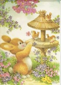 Good Afternoon sister and all.Enjoy your afternoon, xxx❤❤❤☺ Cute Animal Illustration, Illustration Art, Illustrations, Animal Drawings, Cute Drawings, Bunny Art, Vintage Easter, Cute Art, Vintage Art