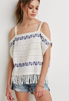 Forever21 Embroidered Open-Shoulder Top - Cream-Navy
