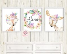 3 Boho Deer Fox Baby Name Wall Art Print Woodland Nursery Baby Girl Feather Tribal Rainbow Room Set Lot Watercolor Personalized Birth Stats Prints Printable Decor Name Wall Art, Baby Name Art, Rainbow Room, After Baby, Baby Arrival, Pregnant Mom, Woodland Nursery, Woodland Art, Baby Hacks