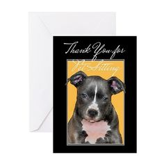Thank You for Petsitting Pitbull Greeting Cards   #thankyou #thanks #card #cards #dog #pet #sitter #petsitter #pitbull #pitbulls #bully #bullies #greetings #notecards