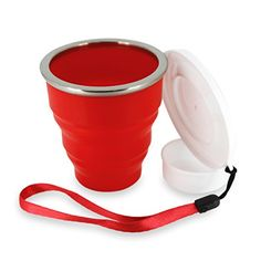 Not Just A Gadget Silicone Outdoor Collapsible Travel Drinking Cup with Pill Box for Camping and Hiking Red