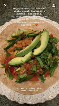 the alkaline version of this would have a spelt tortilla gonna try this & add quinoa + tahini for more protein ! Healthy Meal Prep, Healthy Snacks, Healthy Eating, Clean Eating, Whole Food Recipes, Cooking Recipes, Vegetarian Recipes, Healthy Recipes, Think Food