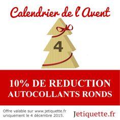 10% sur les autocollants personnalisés toute la journée ~ 4/12/2015 uniquement #autocollants #personnaliser #calendrier #reduction #jetiquette