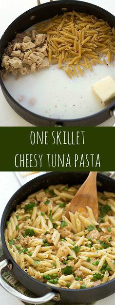 One Skillet Cheesy Tuna Pasta