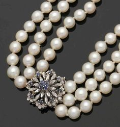 Value Perlschmuckset 750 WG, gestemp. Collier: 170 Pearls (D. I about 7.6 mm)…