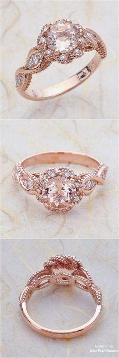 a26d799c85 14K Vintage Rose Gold Engagement Ring Morganite2 Baby's Breath Wedding  Ideas for Rustic Weddings #weddings