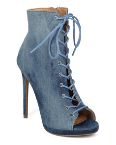 Women Peep Toe Lace Up Stiletto Corset Ankle Boot - HF10 by Wild Diva Collection