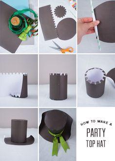 Confetti Sunshine: DIY : Party Top Hat Crazy Hat Day, Crazy Hats, Mad Hatter Hats, Mad Hatter Tea, Diy Party Tops, Christmas Hat, Christmas Crafts, Easter Hat Parade, Art For Kids