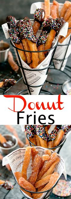 A fun way to serve donuts. Fried dough sticks are coated in sugar or glaze. Köstliche Desserts, Delicious Desserts, Dessert Recipes, Yummy Food, Tasty, Food Deserts, Dessert Party, Donut Recipes, Cooking Recipes