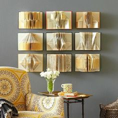 Book Wall Art Transform cast-off books from page-turners to head-turners with our cozy fall crafts idea. Find old hardcover books similar in size and page count at old flea markets, thrift stores, or even in your own basement.Book Wall Art Vivid colors, c Folded Book Art, Paper Book, Paper Art, Diy Paper, Book Page Crafts, Book Page Art, Easy Fall Crafts, Book Wall, Ideias Diy