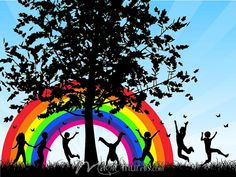 Silhouettes of Children Playing Under a Rainbow - Royalty Free Clipart Picture Photografy Art, Christmas Present Vector, School Wall Decoration, Wall Decorations, Rainbow Dance, Rainbow Theme, School Murals, Art School, Murals For Kids