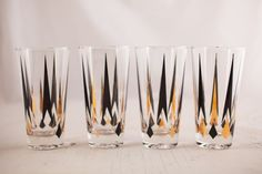 Geometric Black and Gold Highball Glasses - Bourbon & Boots