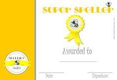 Super spelling printable award certificate