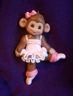 dancer ballerina monkey gift personalized Christmas ornament polymer clay dancing dance sculpture. $18.75, via Etsy.