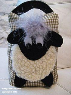 Handmade Cute Sheep Lamb Fabric Doorstop in Vintage Olive by n5nsy - algo para os bebês brincarem ou afiarem as unhas