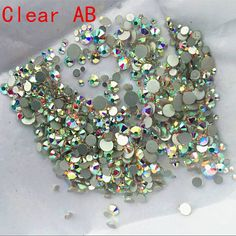 Mix Sizes 1000PCS Pack Crystal Clear AB Non Hotfix Flatback Rhinestones  Nail Rhinestones For Nails 3D Nail Art Decoration Gems-in Rhinestones    Decorations ... 1a1705adde2c