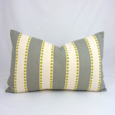 gray stripe with yellow dots, Etsy pillow, $25.00